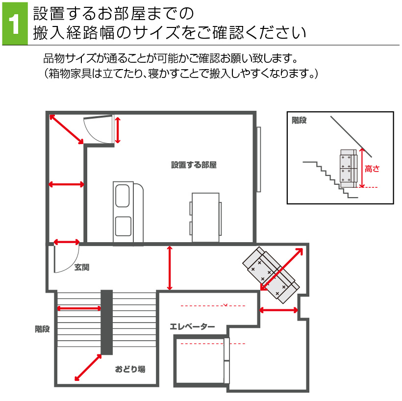 設置するお部屋までの搬入経路幅のサイズをご確認ください